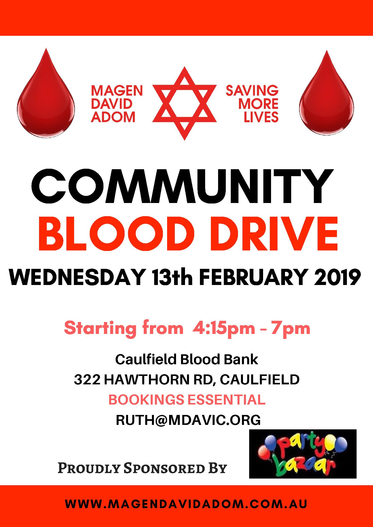 Community Blood Drive – 13th February 2019